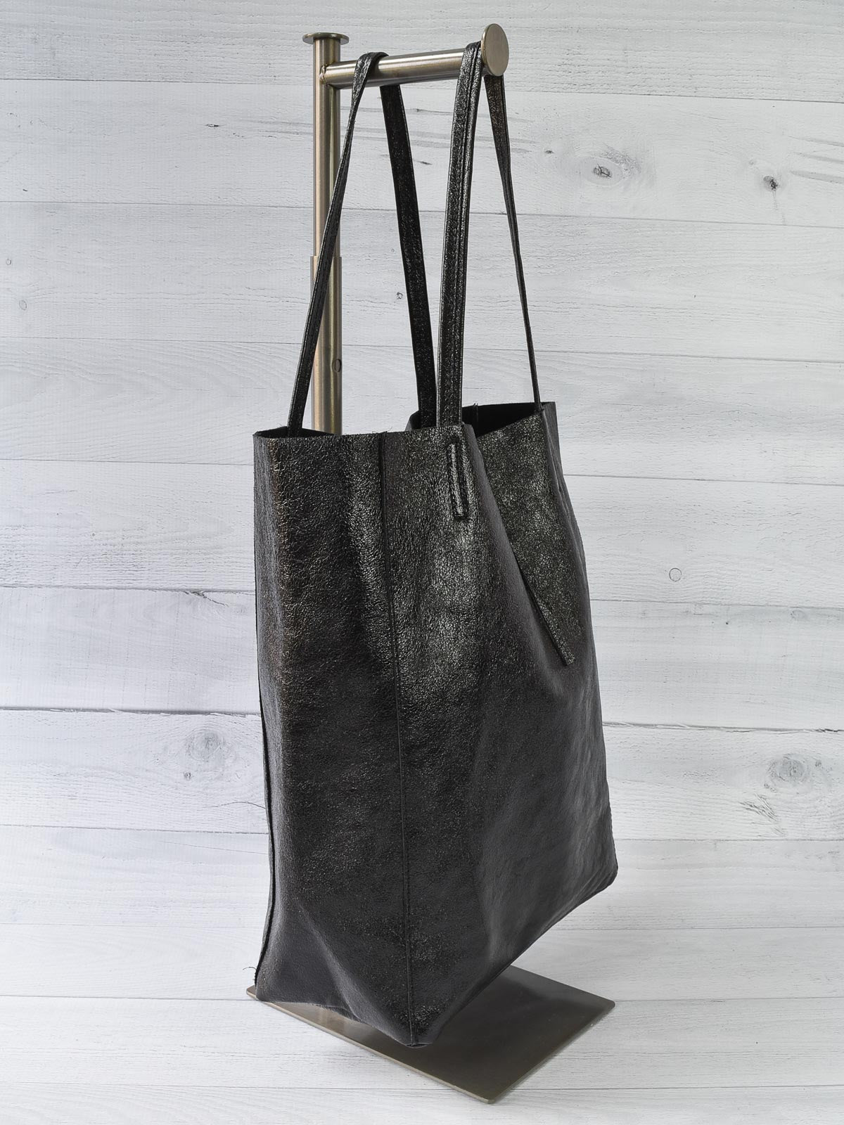 Jijou Capri Metallic Leather Tote Bag, Black - Statement Boutique