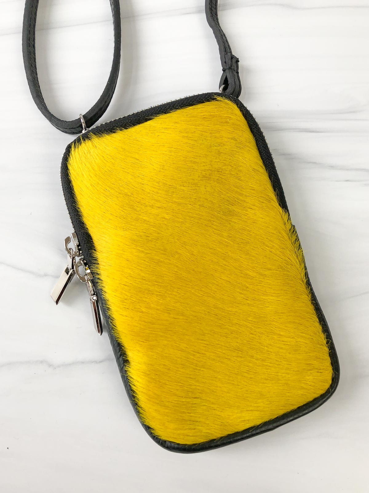 Jijou Capri Pony Leather Cellphone  Crossbody Bag, Yellow - Statement Boutique