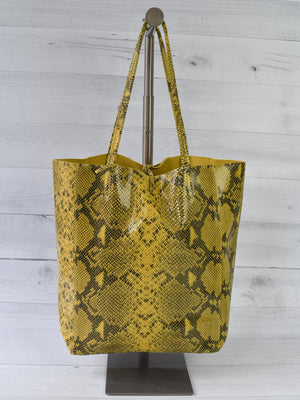Jijou Capri Snake Print Leather Tote Bag, Mustard
