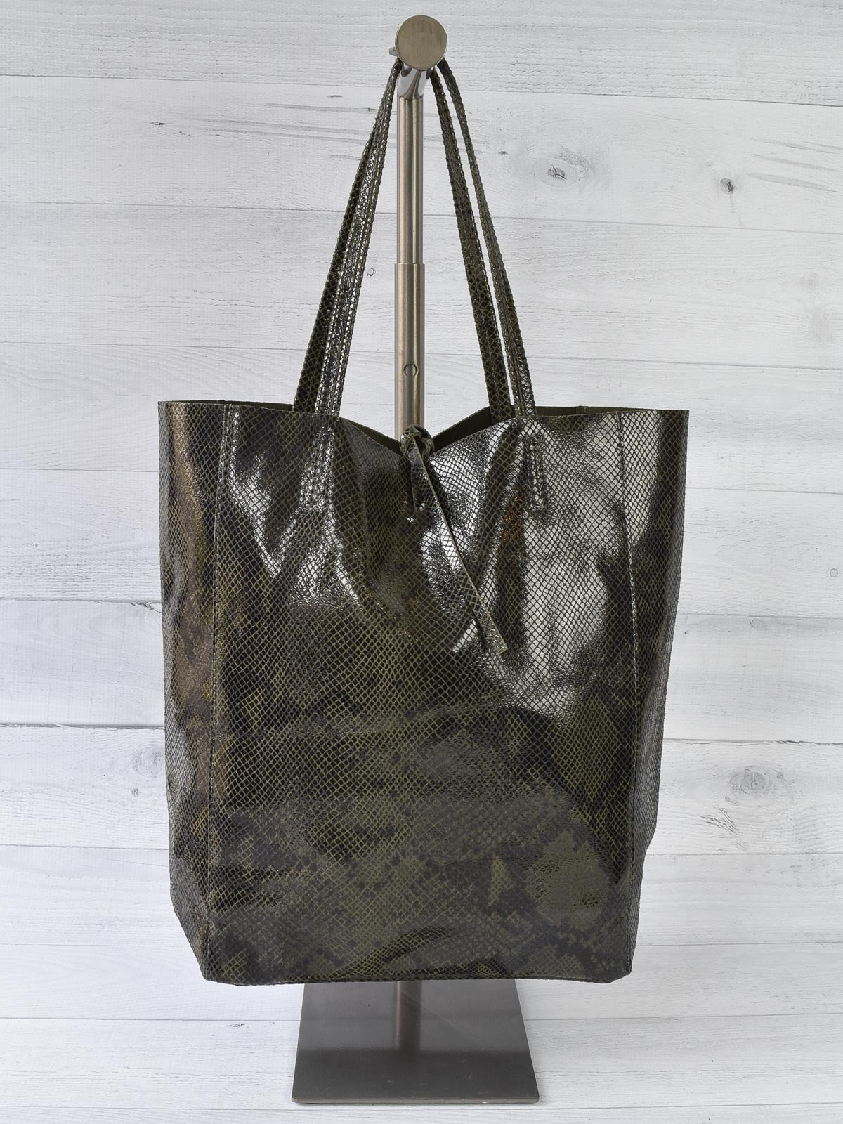 Jijou Capri Snake Print Leather Tote Bag, Olive - Statement Boutique