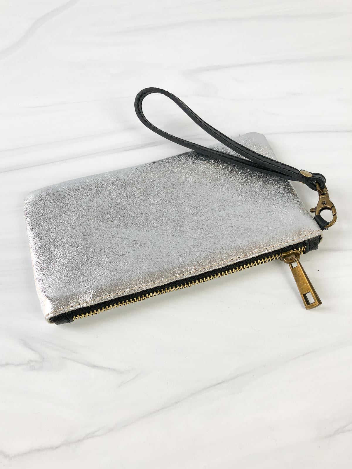 Jijou Capri Ziplet Metallic Leather Wristlet, Silver - Statement Boutique