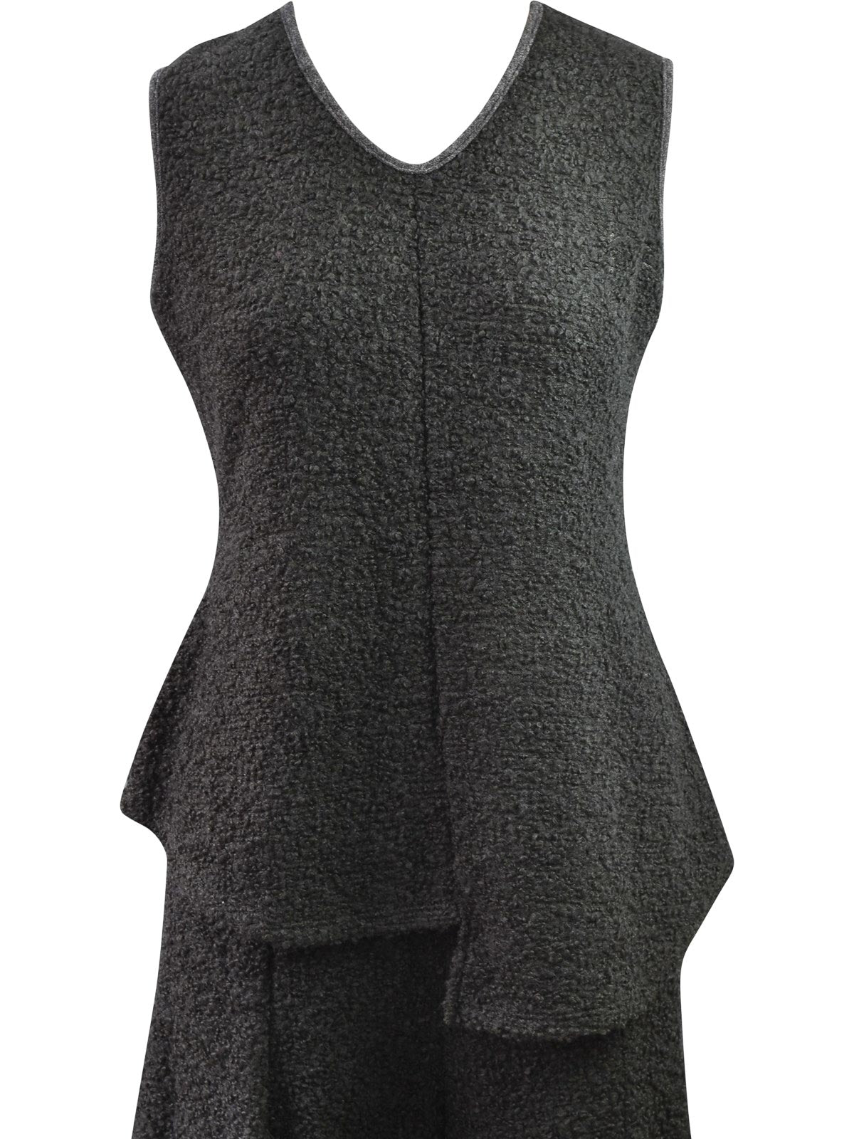 Khangura Boucle Asymmetric Tank Top, Black