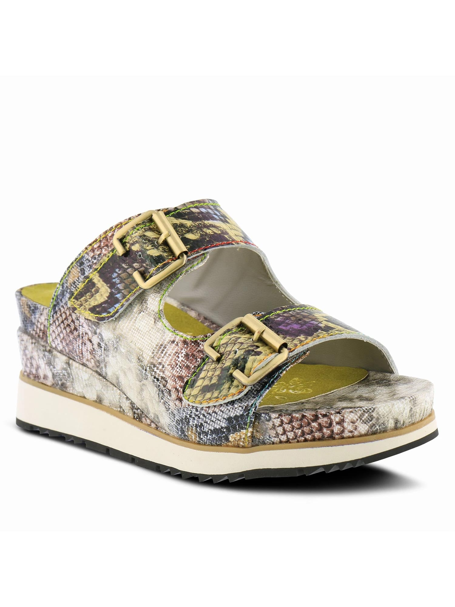 L'Artiste by Spring Step - Kitty Platform Slide Sandal in Lime Multi
