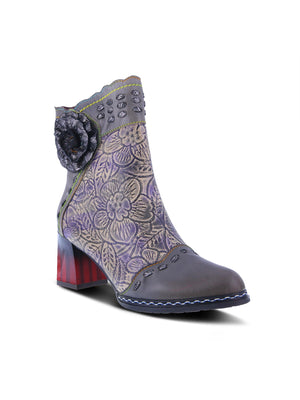 L'Artiste by Spring Step - Striolle Flower Motif Boot in Grey Multi