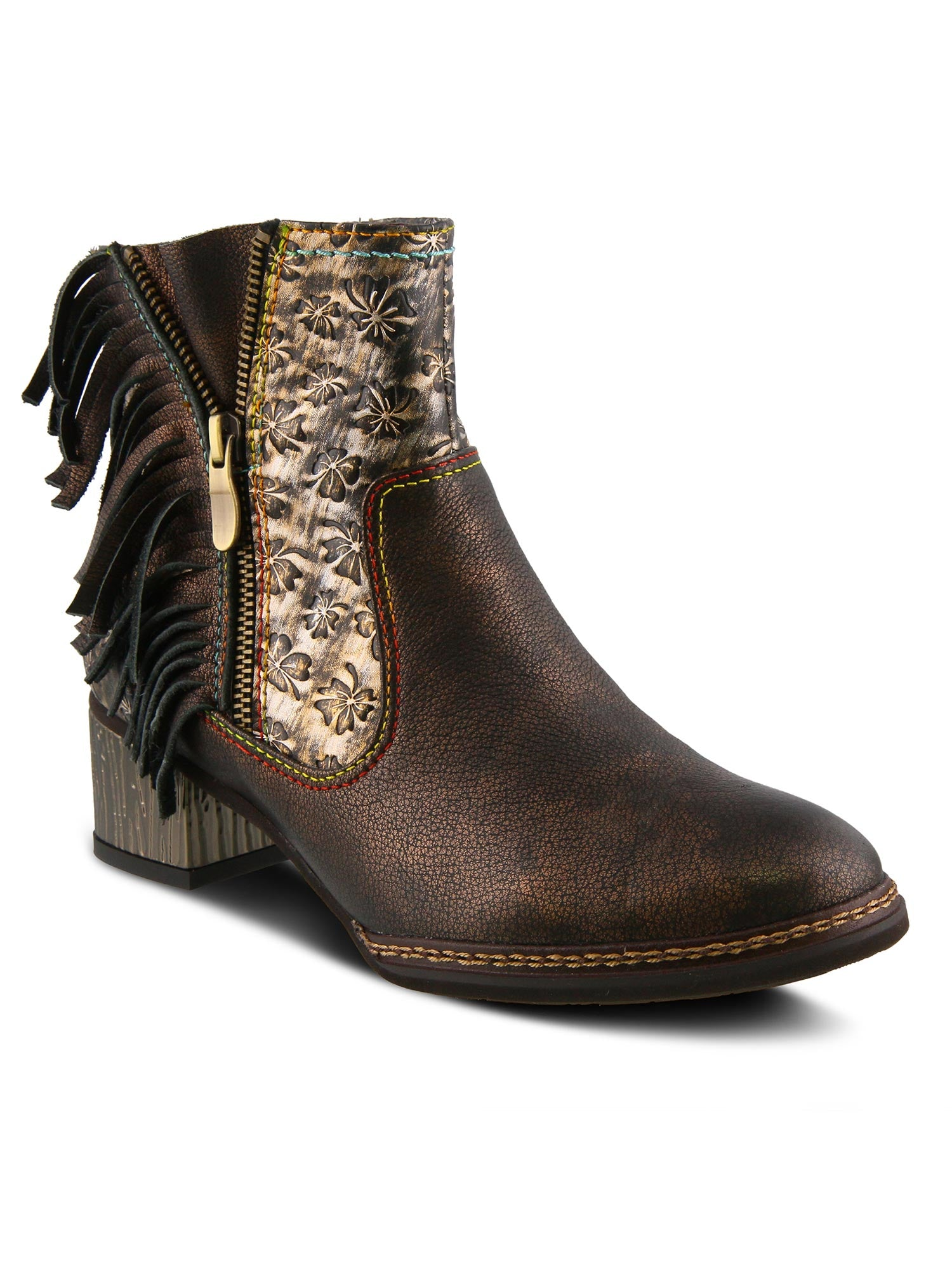 L'Artiste by Spring Step - Kami Fringe Bootie in Bronze Multi