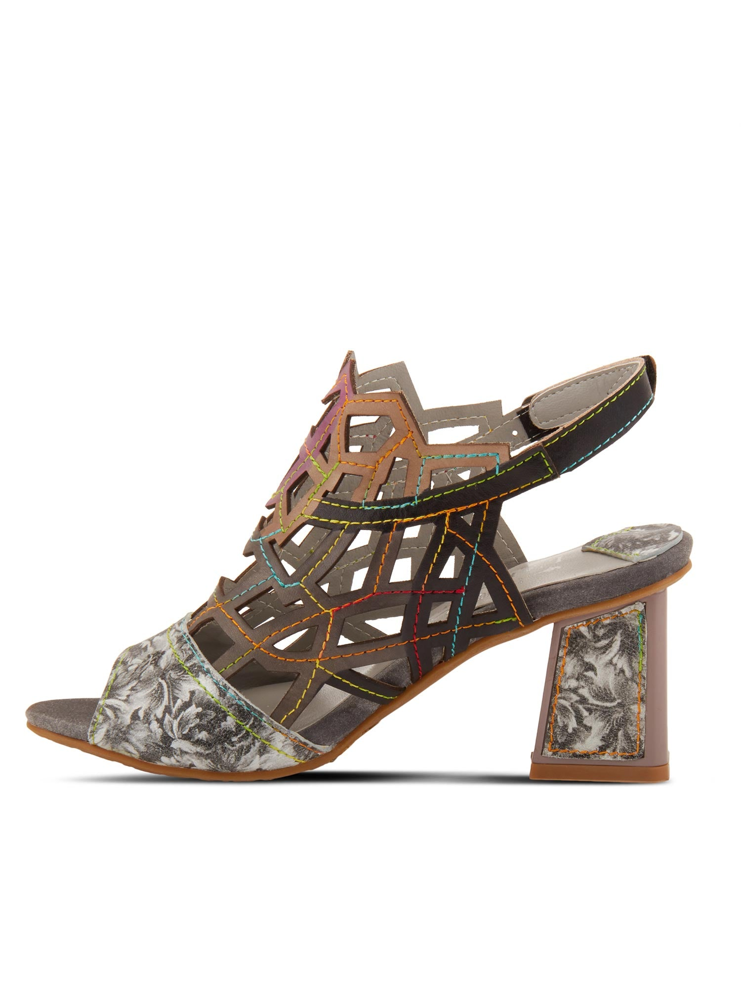 L'Artiste by Spring Step - Sanstar Laser Cut Sandals in Grey Multi