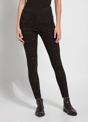 Lysse Pattern Denim Legging, Deep Olive Sketch