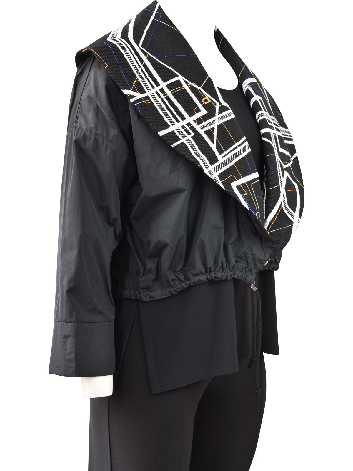 NY77 Embroidered Collar Short Jacket, Black/Multi