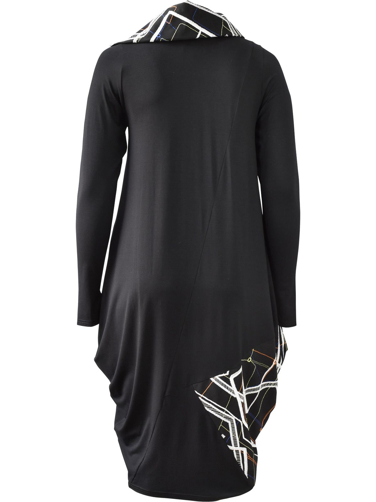 NY77 Embroidered Accent Dress, Black/Multi