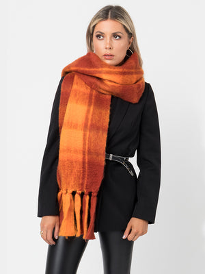 Pia Rossini Zabella Scarf, Orange/Red - Statement Boutique