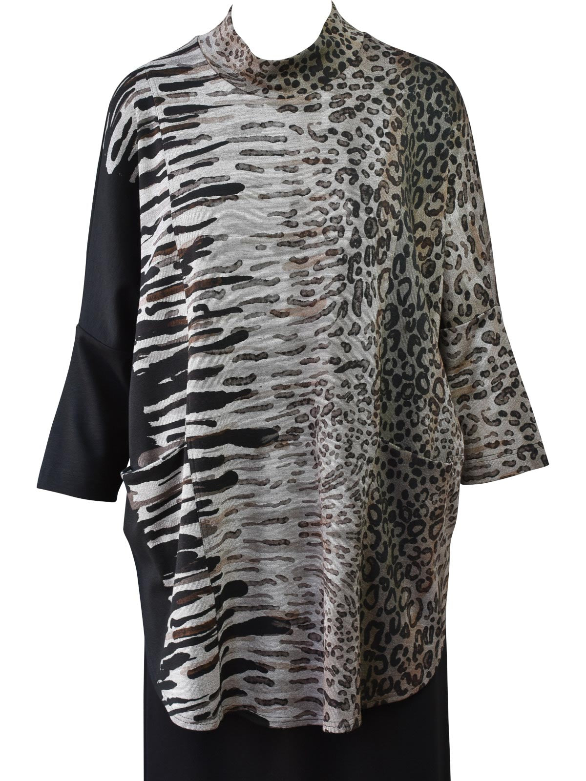 Q'Neel Animal Print Two Pocket Top, Black Multi