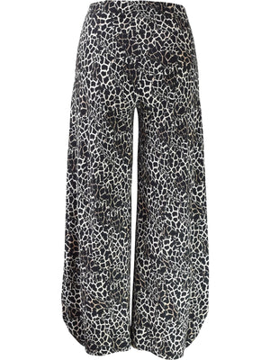 Q'Neel Crackle Print Lantern Pant, Black/Tan - Statement Boutique