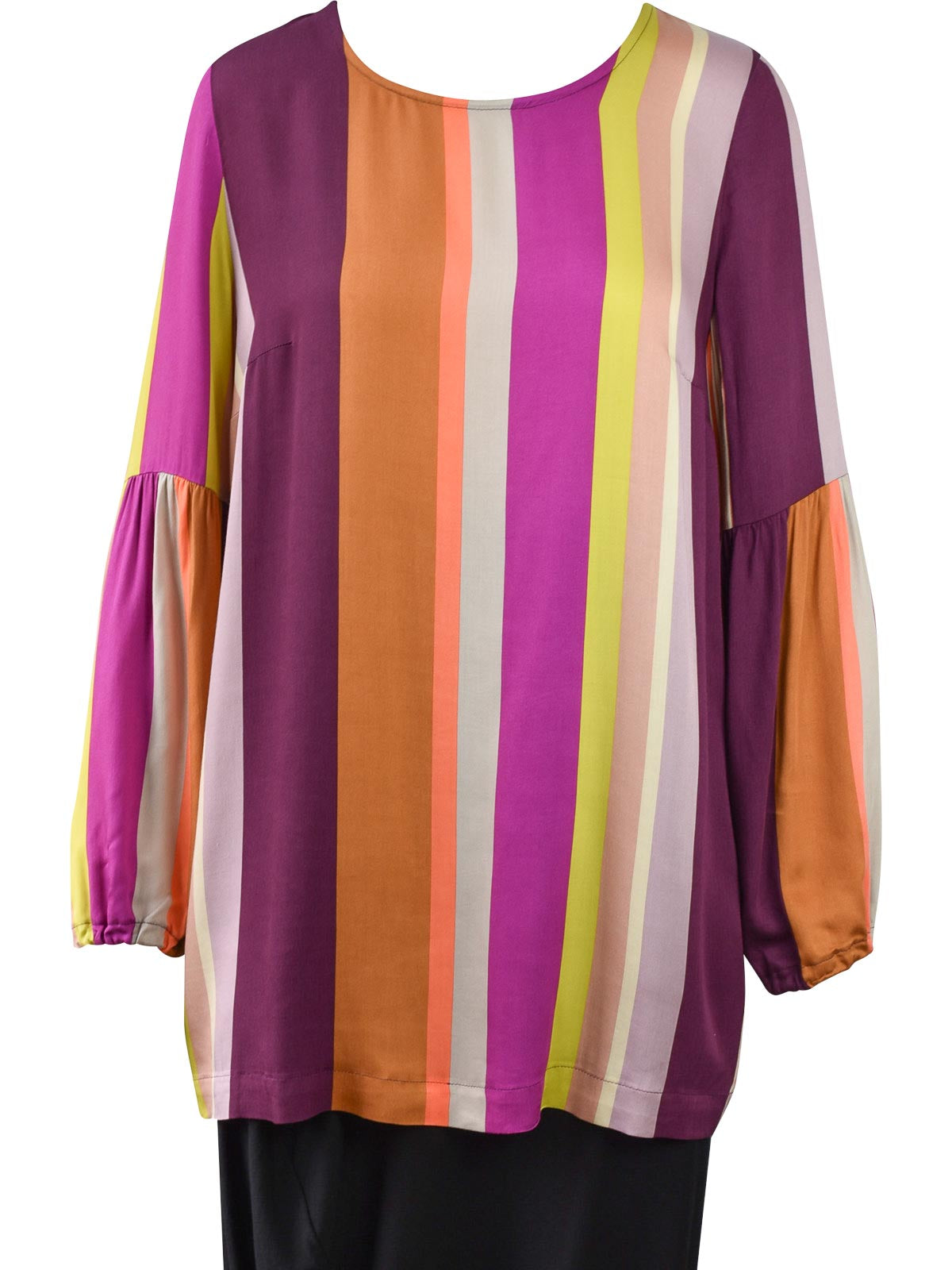 Q'Neel Gathered Sleeve Striped Blouse, Multi