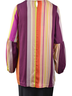 Q'Neel Gathered Sleeve Striped Blouse, Multi - Statement Boutique