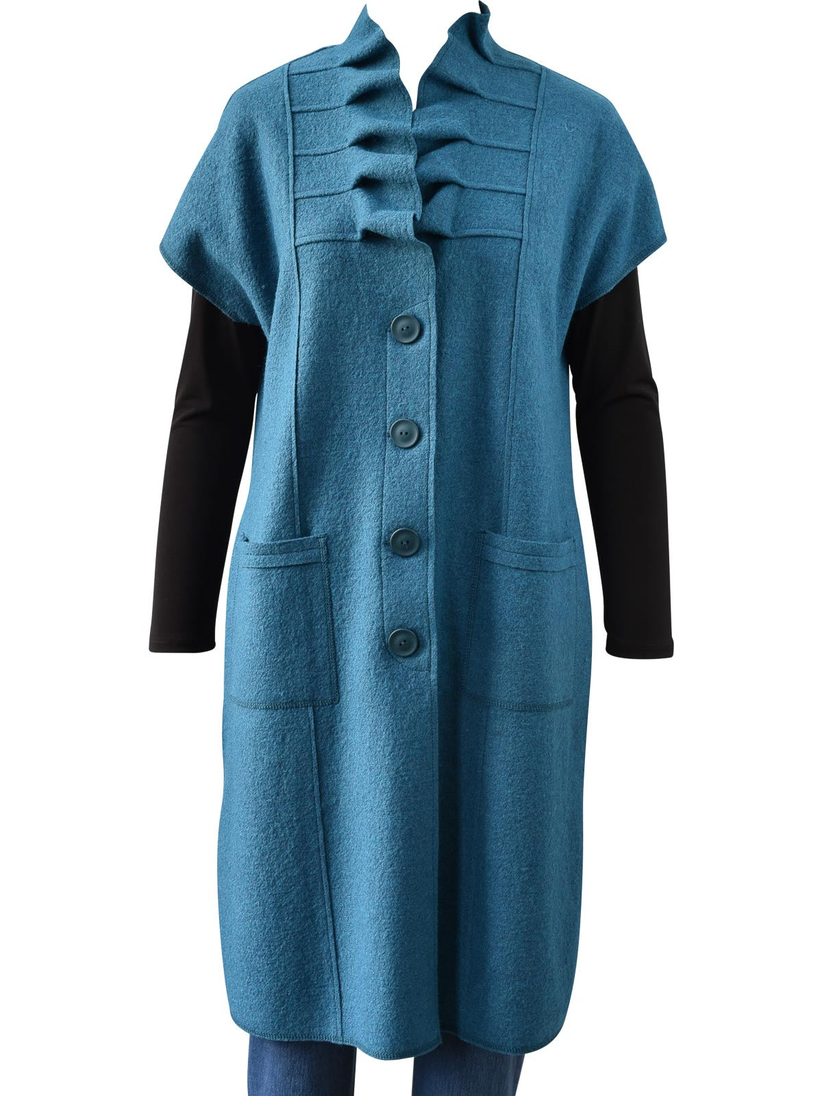Q'Neel Pleated Collar Duster Vest, Teal