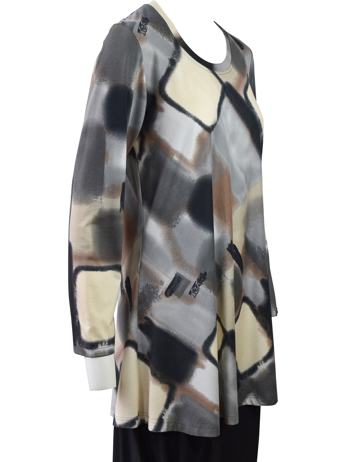 Q'Neel Printed Round Neck Tunic, Grey/Multi