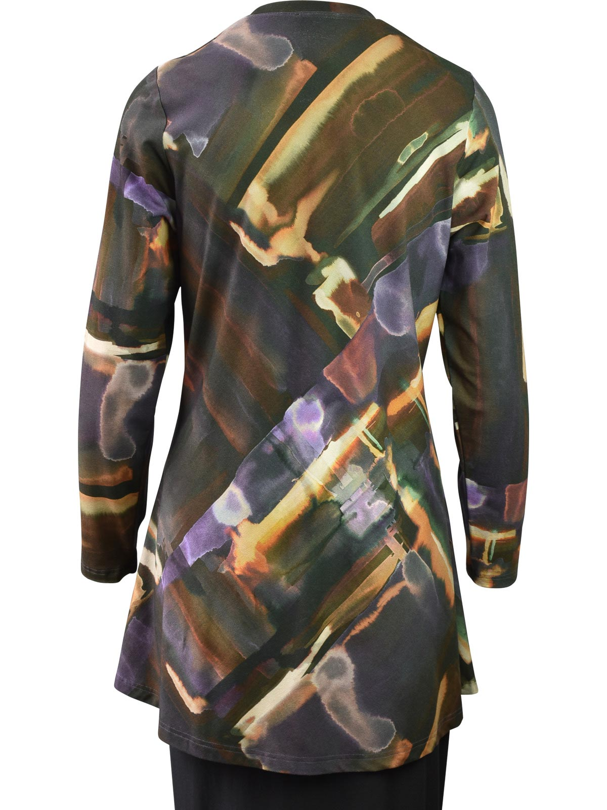 Q'Neel Printed Round Neck Tunic, Brown Multi - Statement Boutique