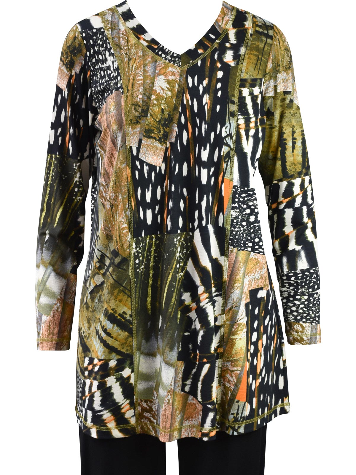 Q'Neel Printed V Neck Tunic, Olive Multi