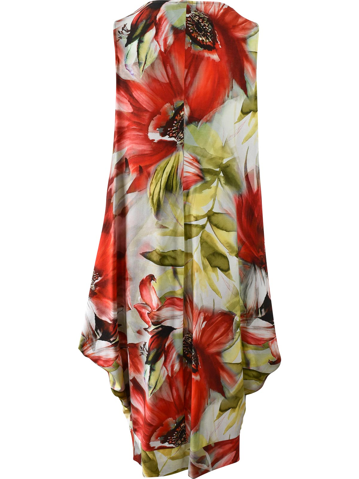Q'Neel Sleeveless Floral V-Neck Pocket Dress, Red Multi