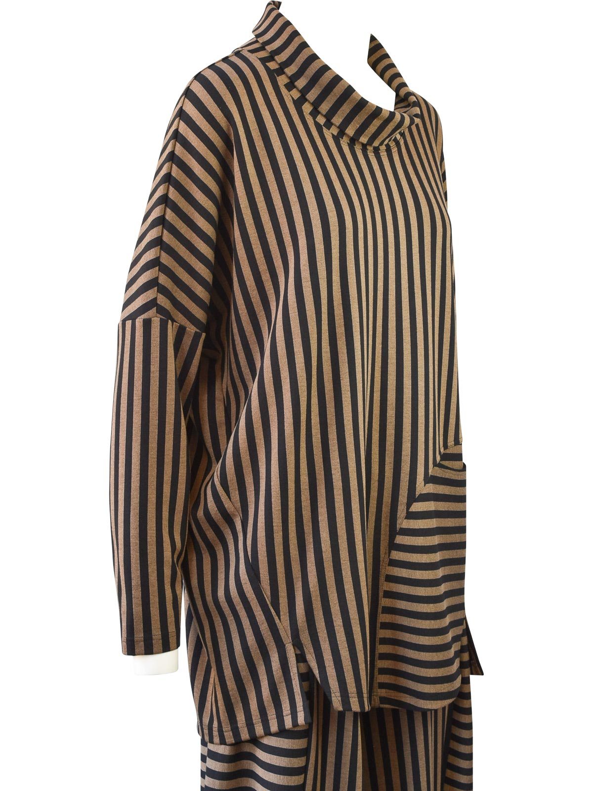 Q'Neel Striped Cowl Pocket Top, Black/Taupe
