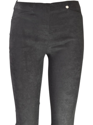 Robell Rose Slim Faux Suede Pant, Black - Statement Boutique