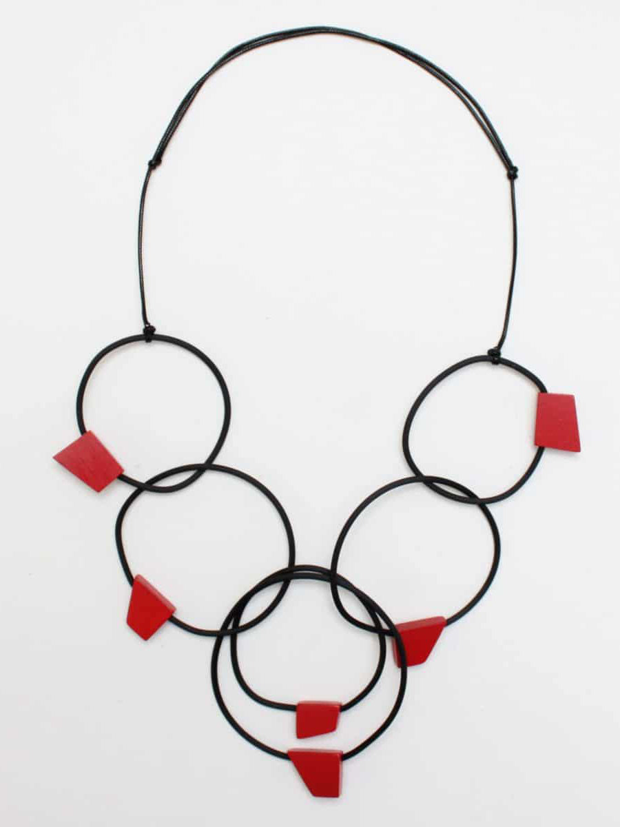 Sylca Designs Barcelona Necklace, Black/Red - Statement Boutique