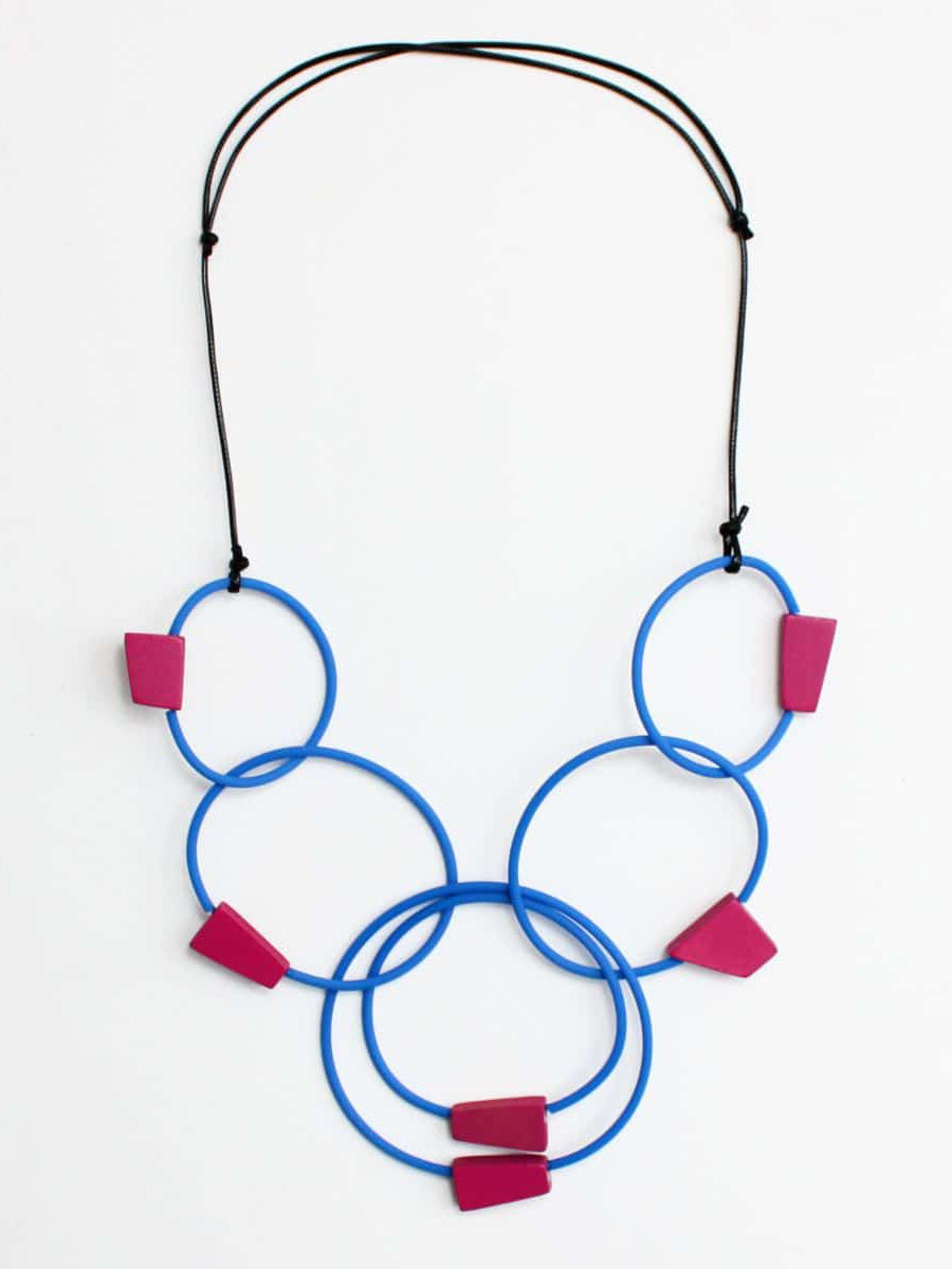 Sylca Designs Barcelona Necklace, Blue/Fuchsia - Statement Boutique