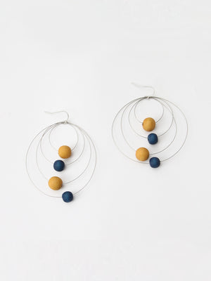 Sylca Designs Cala Hoop Earrings, Mustard/Blue - Statement Boutique