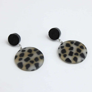 Sylca Designs Cheetah Drop Earrings, Black/Grey - Statement Boutique