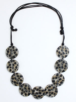Sylca Designs Cheetah Statement Necklace, Black/Grey - Statement Boutique