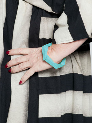Sylca Designs Geometric Wooden Bracelet, Turquoise - Statement Boutique