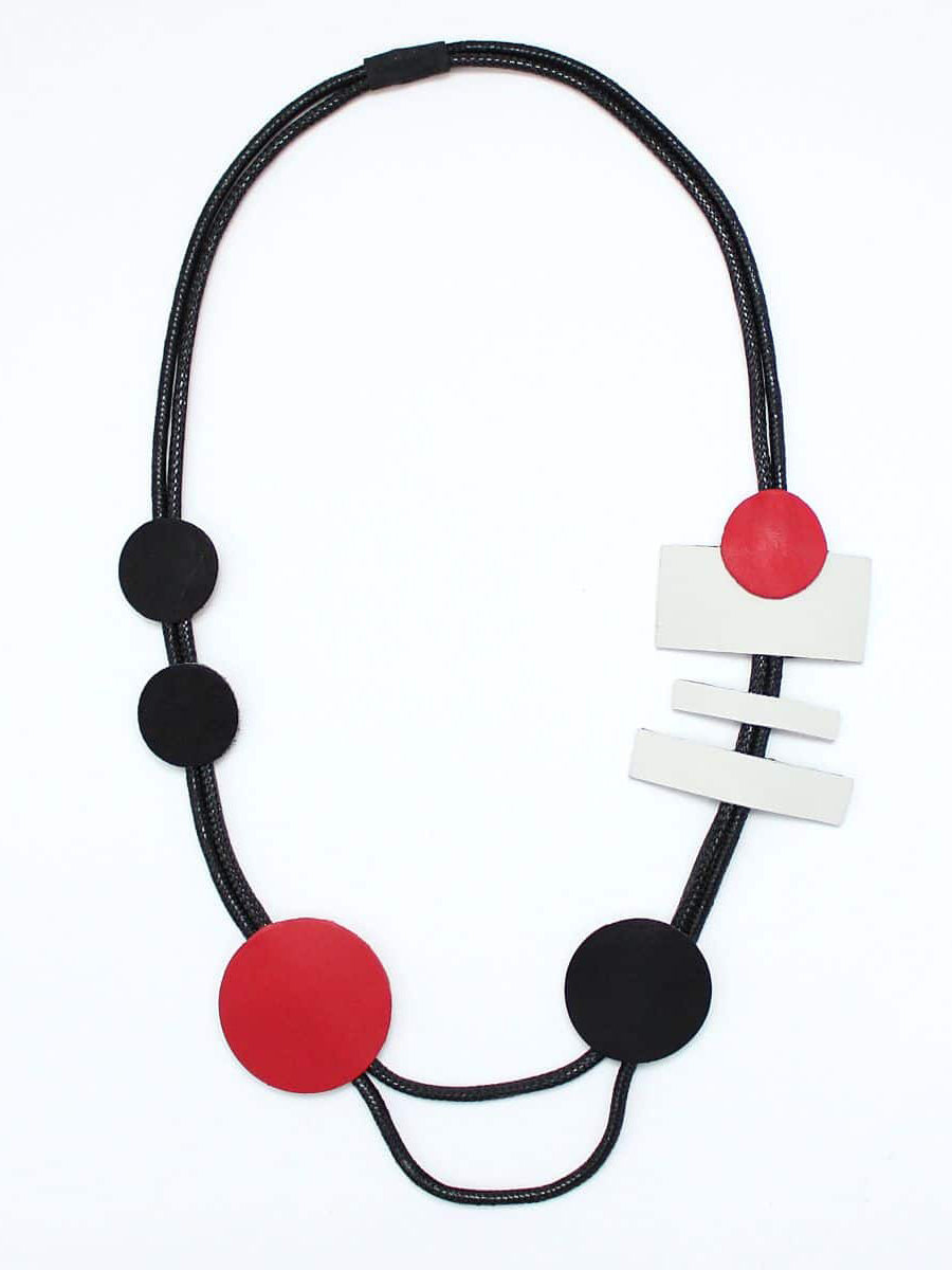 Sylca Designs Luciana Necklace, Black/Red - Statement Boutique