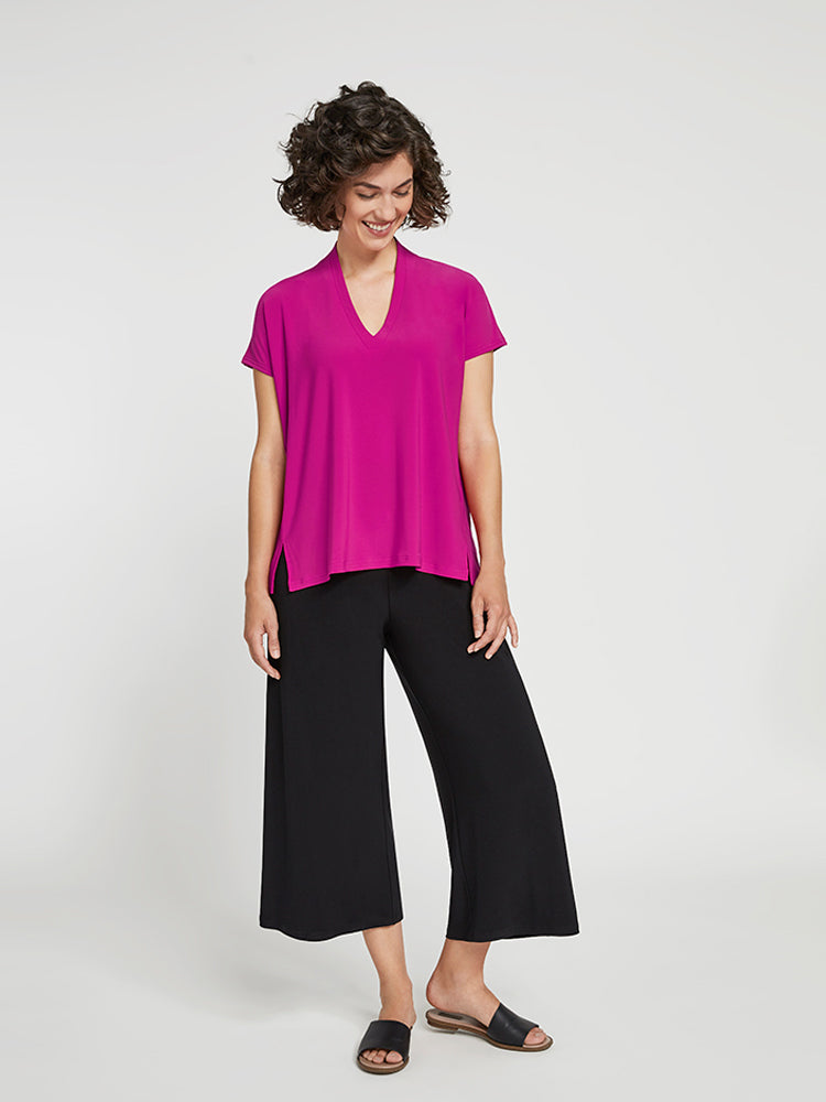 Sympli Deep V Top, Short Sleeve, Flamingo