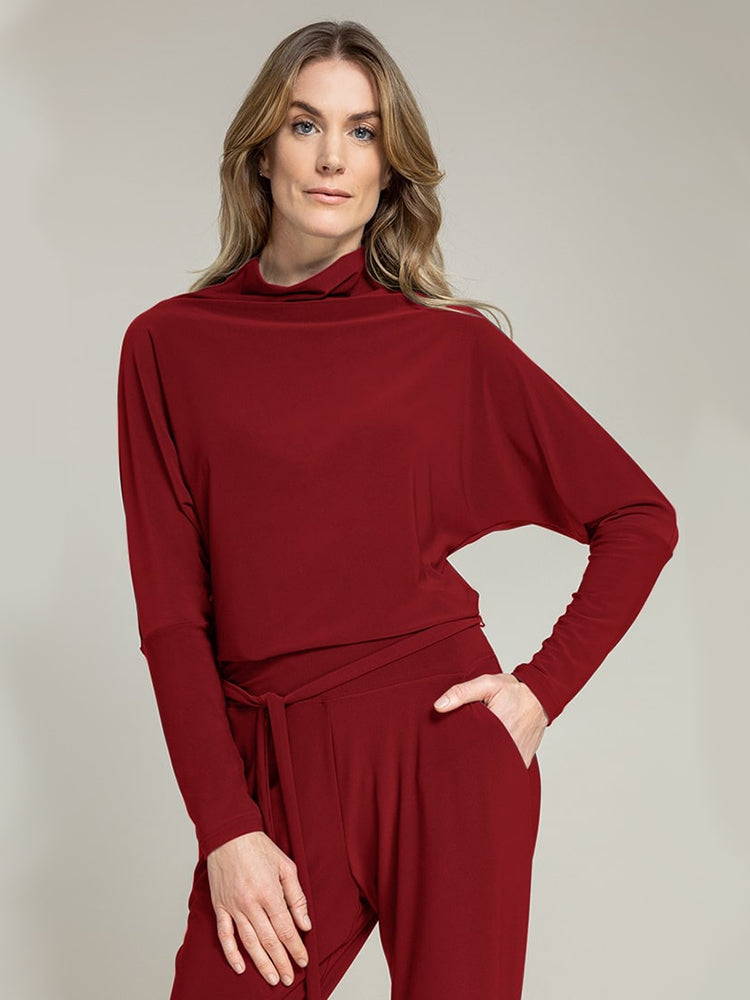Sympli Funnel Neck Dolman T, Brick