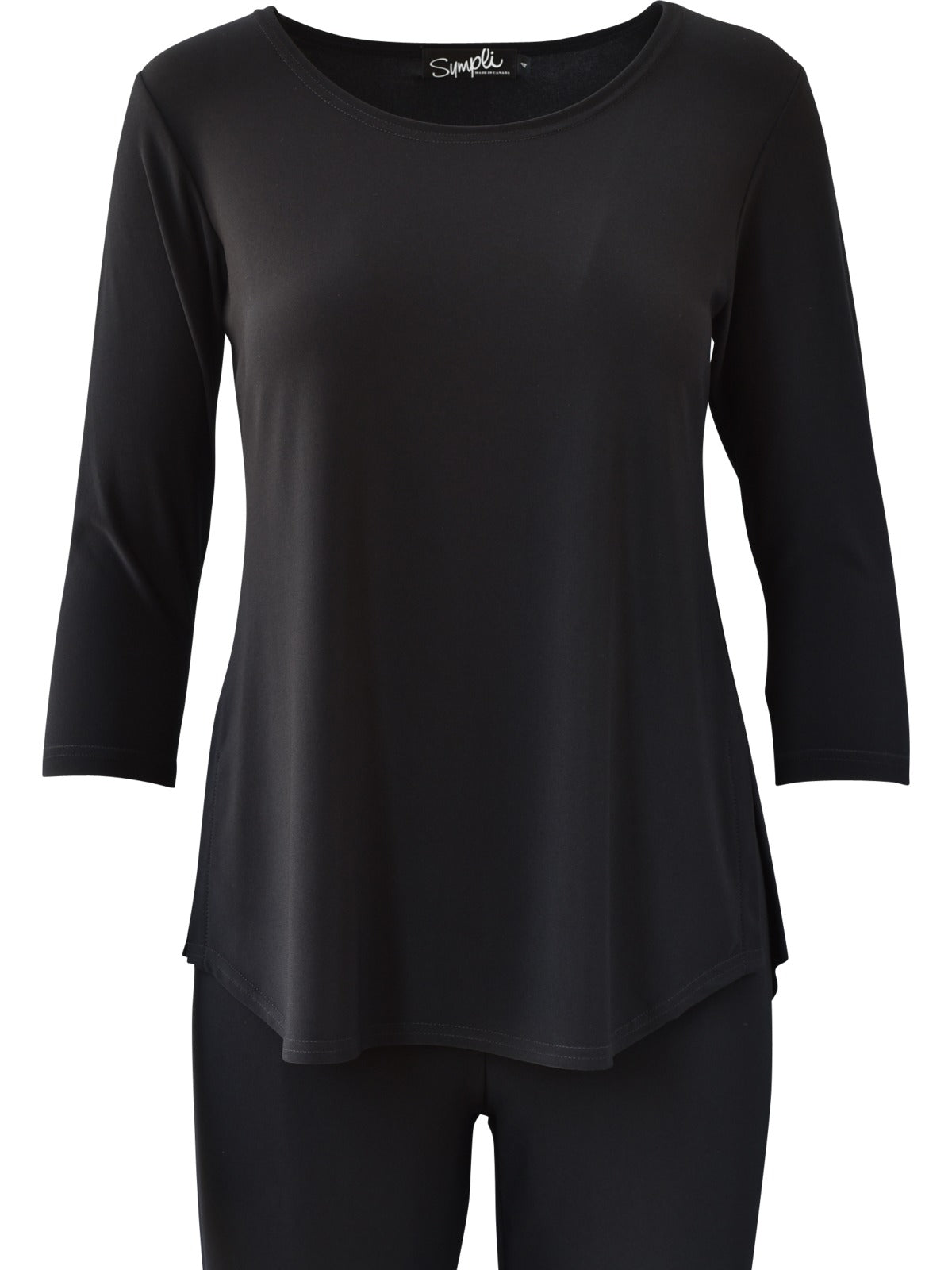 Sympli Go To Classic T Relax 3/4 Sleeve Plus - Black - Statement Boutique