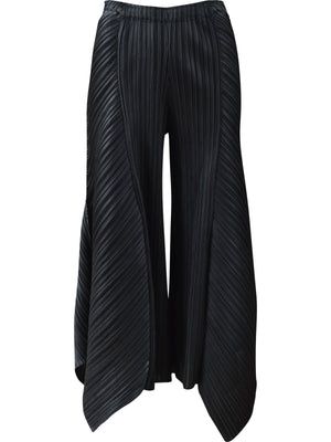 Vanite Couture Wide Leg Angle Hem Pant, Black