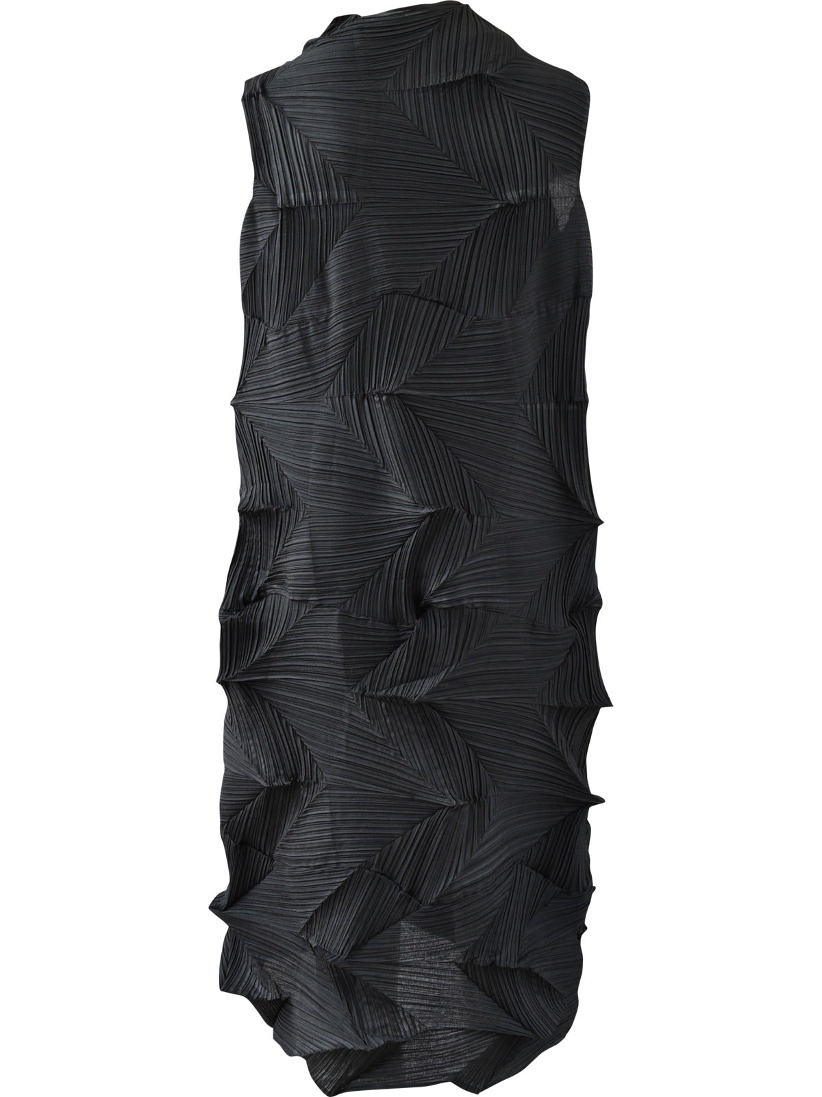 Vanite Couture Zig Zag Pleat Sleeveless Dress, Black