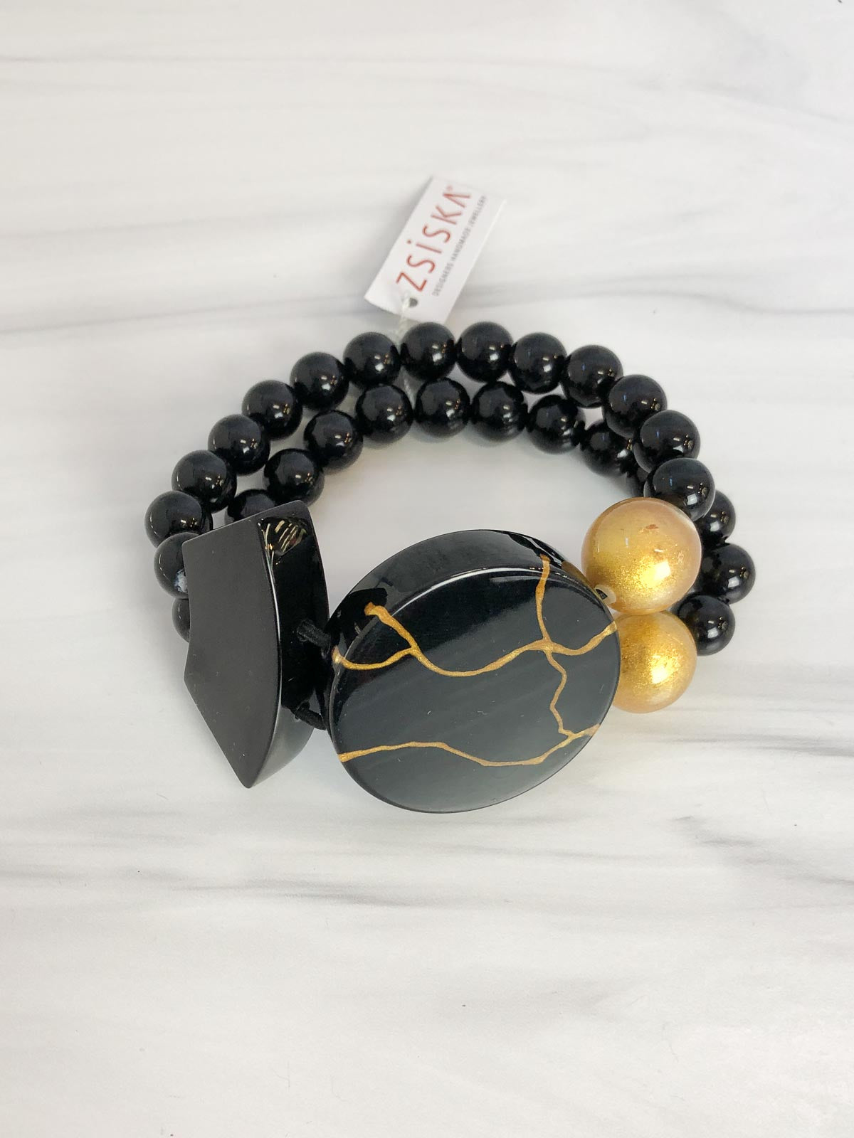 Zsiska Aspen Bracelet, Black/Gold - Statement Boutique