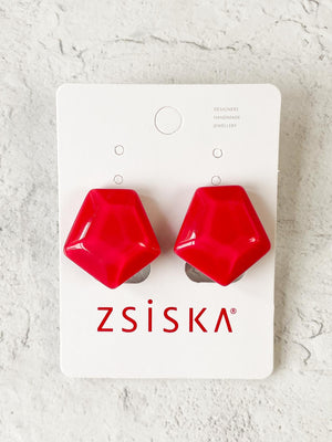 Zsiska Aurora Clip Earrings, Fuchsia