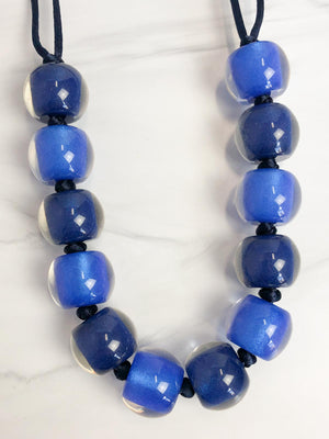 Zsiska Colorful Beads 12 Bead Adjustable Necklace, Blue Mix