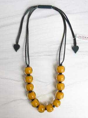 Zsiska Colorful Beads 12 Bead Adjustable Necklace, Mustard