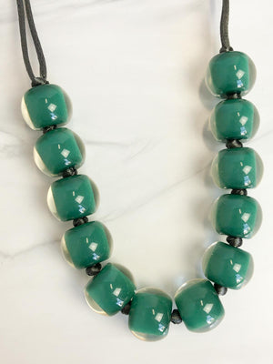 Zsiska Colorful Beads 12 Bead Adjustable Necklace, Teal Green