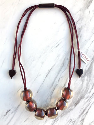Zsiska Colorful Beads Large 6 Bead Adjustable Necklace, Burgundy - Statement Boutique
