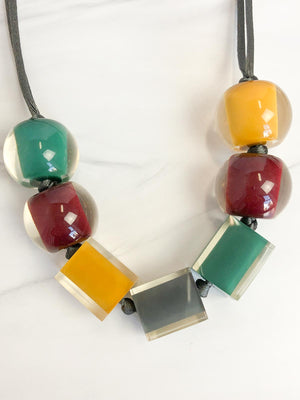 Zsiska Colorful Cubes 7 Mix Bead Adjustable Necklace, Fall Multi