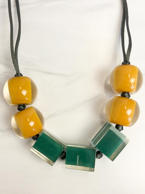 Zsiska Colorful Cubes 7 Mix Bead Adjustable Necklace, Teal Green/Mustard
