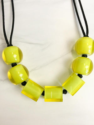 Zsiska Colorful Cubes 7 Mix Bead Adjustable Necklace, Lime