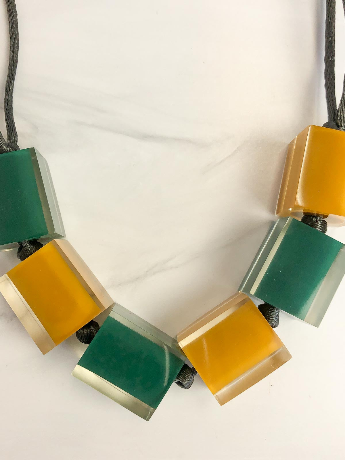 Zsiska Colorful Cubes Large 6 Bead Adjustable Necklace, Teal Green/Mustard