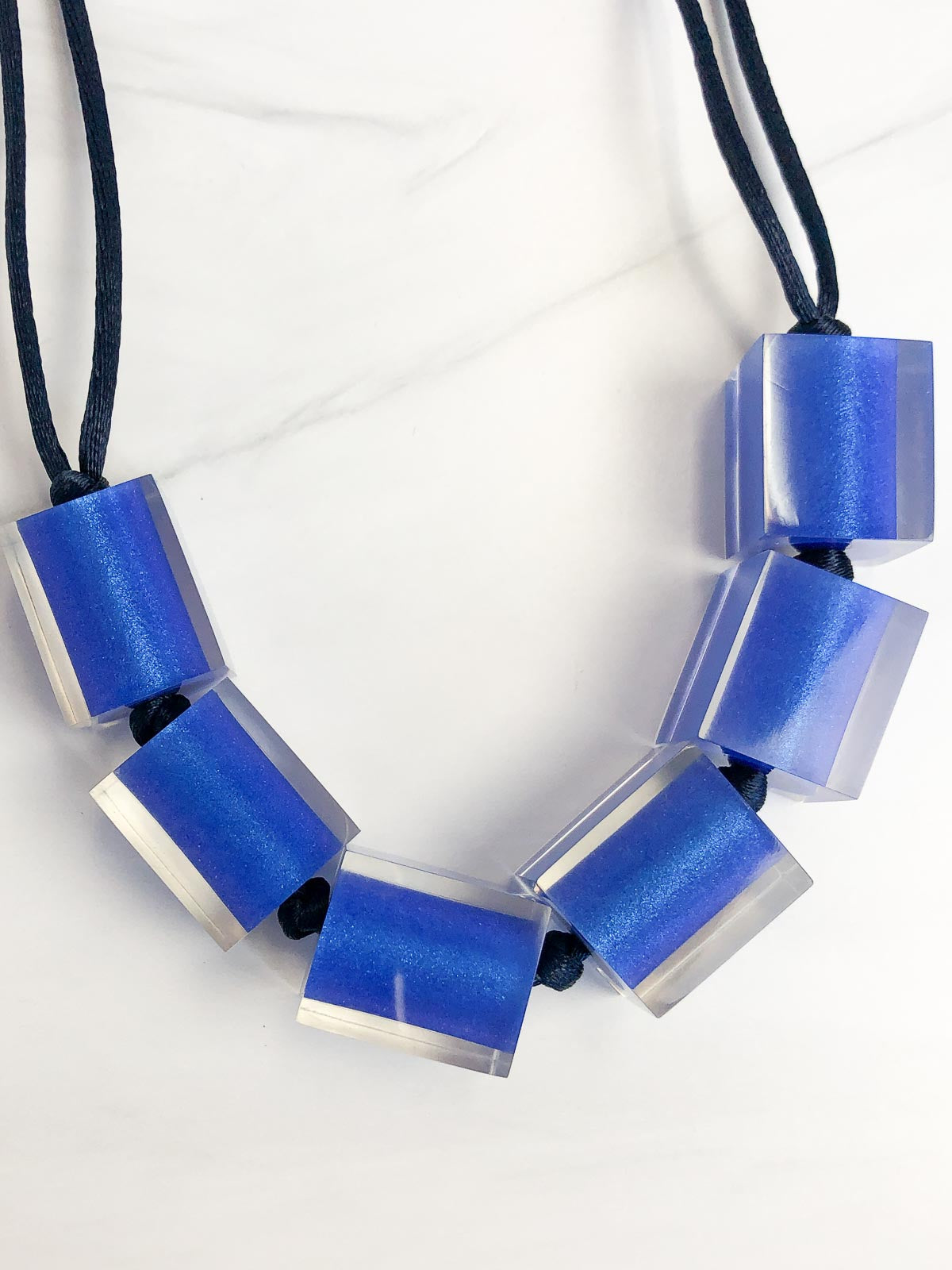 Zsiska Colorful Cubes Large 6 Bead Adjustable Necklace, Marine Blue