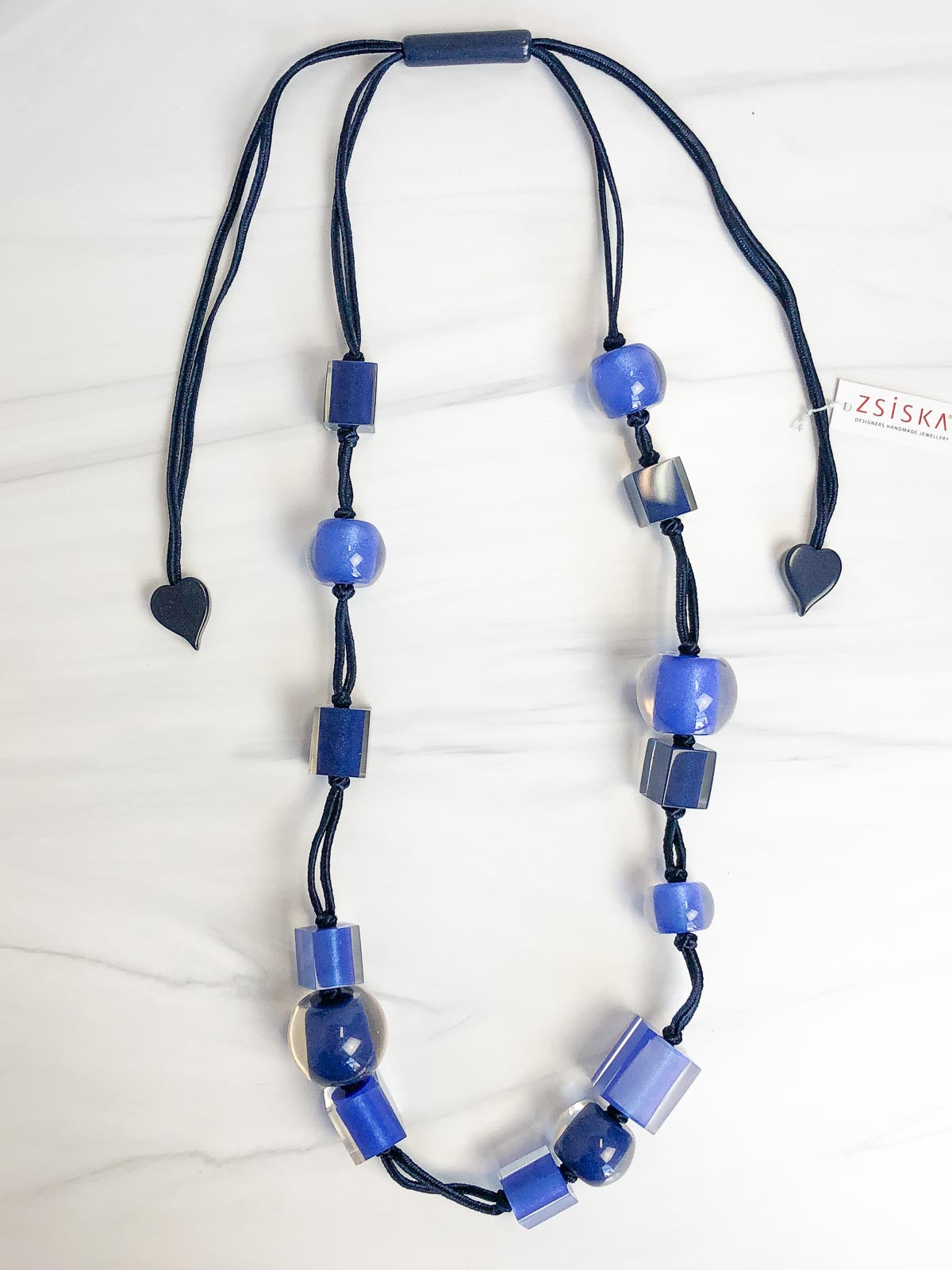 Zsiska Colorful Cubes Mix Bead Long Adjustable Necklace, Blue Mix