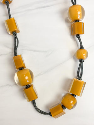 Zsiska Colorful Cubes Mix Bead Long Adjustable Necklace, Mustard - Statement Boutique